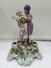 Volkdstet Porcelain Figural Candlestick Group