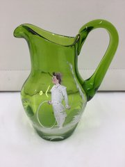 e Mary Gregory Enamelled Green Glass Jug
