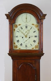 Early Slim Oak Case White Dial Longcase Clock