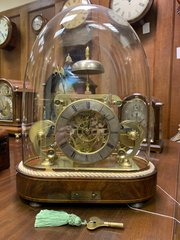 English Double Fusee Musical Skeleton Clock c1845.