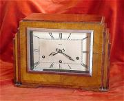 Art Deco Walnut 8 day Mantle Clock